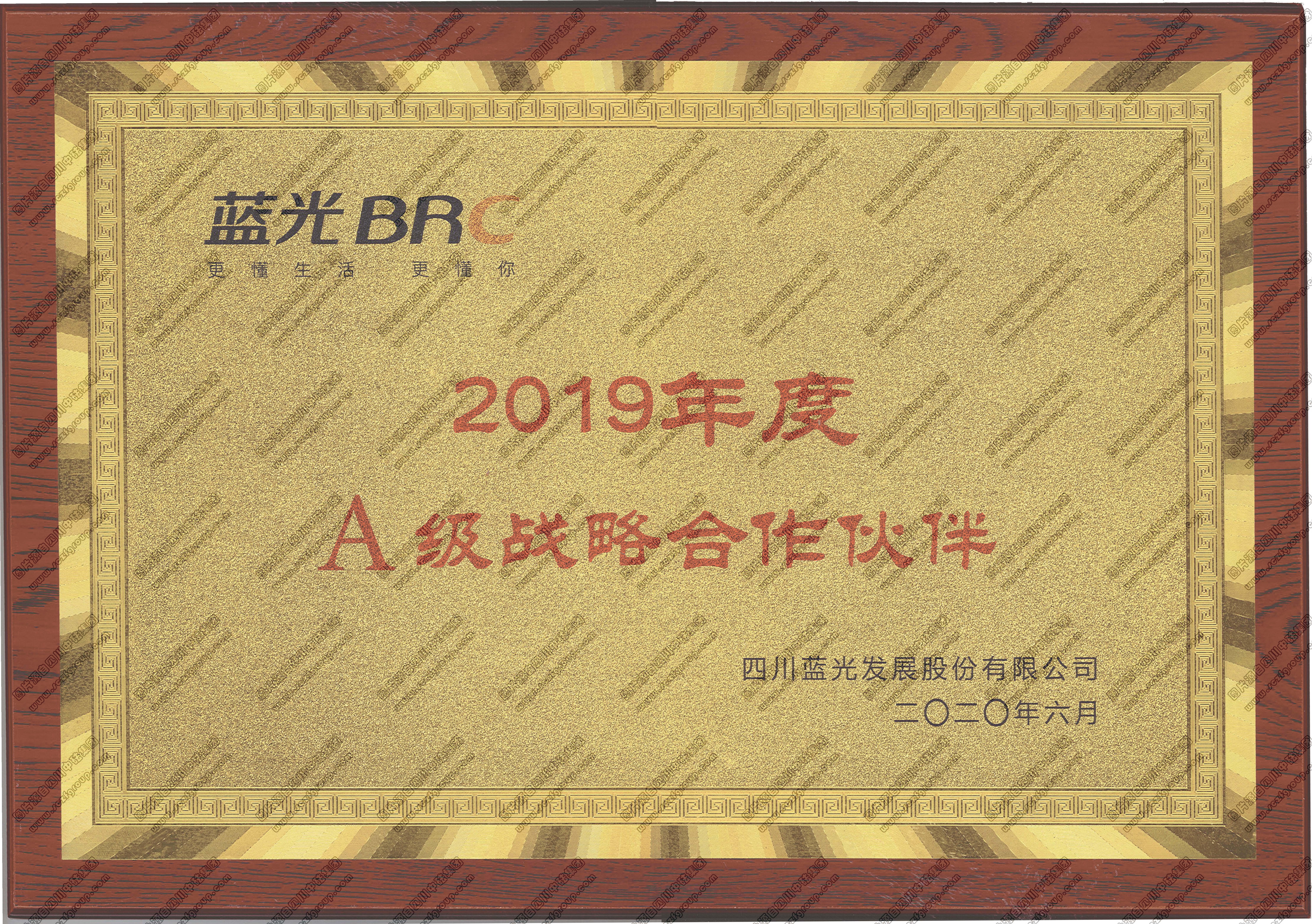 奖牌:蓝光BRC 2019年度A级战略合作伙伴
